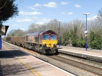 EWS 66037 takes a freight through Cholsey on 4 April 2010<br><br>[Peter Todd 04/04/2010]