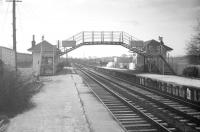 Platform view at Belses station, thought to have been taken in late 1966 looking south towards Hawick. [No, I've no idea who that is. Ed]<br><br>[Robin Barbour Collection (Courtesy Bruce McCartney) //1966]