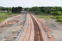 Looking East towards Bathgate on 11 June 2010 with the down line now in place.<br><br>[James Young 11/06/2010]