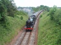 <I>The Torbay Express</I>, comprising eleven coaches steam hauled from Bristol by 6024 <I>King Edward I</I>, is on the last leg of its journey to Kingswear as it leaves Churston and begins the descent to the Dart Estuary.<br><br>[Mark Bartlett 13/06/2010]