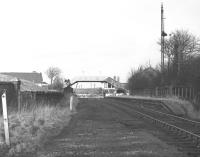 The remains of Bathgate (Lower) station, looking northwest towards the level crossing in February 1970, forty years after the station had closed to passengers. [See image 29356]<br> <br><br>[Bill Jamieson /02/1970]