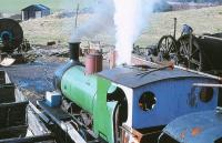<I>Twizell</I>, a Robert Stephenson & Co 0-6-0T built in 1891, in operation as a stationary boiler at Beamish in April 1979. [See image 29518]<br><br>[Peter Todd 13/04/1979]