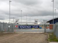 Looking east at the entrance to the new ScotRail light maintenance depot at Bathgate on 27 July with the cleaning roads in the right background on the south side of the line. The new station footbridge now dominates this view.<br><br>[John Furnevel 27/07/2010]