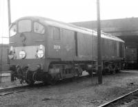 Metrovick D5716 stands on Carnforth shed in 1968.<br><br>[Jim Peebles //1968]
