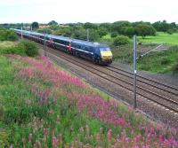A southbound ECML service passing Dudley, some 7 miles short of Newcastle Central, on 18 August 2010.<br><br>[Colin Alexander 18/08/2010]
