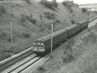 First day of electric services. The 14.35 Wemyss Bay to Glasgow Central seen shortly after passing through Bishopton non-stop on 5 June 1967.<br> <br><br>[Colin Miller 05/06/1967]