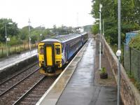 The 09.11 service to Newcastle (ex-Glasgow Central) calls at Annan on 7 September 2010.<br> <br><br>[Bruce McCartney 07/09/2010]