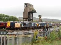 The stored DRS lcomotives at Carnforth seem to be moved around the yard quite a bit - presumably to keep things from seizing up. 37261, 37612 and 37605 are seen here from the station platform, in front of four stored Class 20s, with the depot coaling tower and ash plant behind. Will there be any RHTT work for these locos this autumn? Postscript: Later that same day four more DRS Class 20s (20309/10/11/12) arrived from Carlisle for storage in the yard here.<br><br>[Mark Bartlett 14/09/2010]