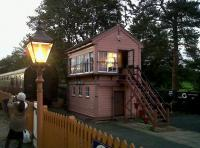 Arley signal box looking rather pink [see image 30783] at the Severn Valley Railway 40th anniversary gala. Hourly steam through the night - great stuff.<br><br>[Ken Strachan 27/09/2010]