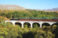 Black five no 44871 crossing Arnabol Viaduct near Loch nan�Umbh�with <I>The Jacobite</I> on its way to Mallaig on 12 October. Arnabol Viaduct is inland from the head of Loch Beag and about half a mile before its more famous neighbour.<br> <br><br>[John Gray 12/10/2010]