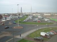 The site of Blackpool Central MPD, as seen from the top floor of nearby Blackpool FC stadium looking towards Blackpool Central station in 2010. Prior to the 1964 closure there were 19 tracks from left to right at this point including a four track mainline, eight road shed and other associated sidings in between. Since the image was taken the car park has closed with housing built on the old shed site. <br><br>[Mark Bartlett 27/10/2010]
