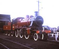 Preserved Ivatt 2-6-0 no 6441 on display at Carnforth in the summer of 1970.<br><br>[Jim Peebles //1970]