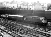 33.059 hauling VSOE stock (empty, if I recall correctly) east into  Newport in the late eighties. Cardiff was an <I>Orient Express</I> destination in those days.<br><br>[Ken Strachan /08/1987]