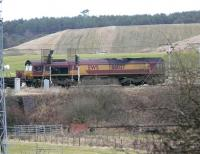 DBS 66037 climbs to Cobbinshaw with 6E28 Dalzell - Tees Yard steel empties at 14.27 on 5 February.<br><br>[Ken Browne 05/02/2011]