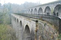 Chirk Aquaduct (left) on the Llangollen branch of the Shropshire Union Canal was later paralleled by Chirk Viaduct (right) of the Shrewsbury Oswestry and Chester Junction Railway. The view looks south.<br><br>[Ewan Crawford 21/02/2011]