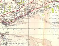 Part of the One Inch OS map of 1945 showing the D&A Joint line east of Dundee, and the start of the Forfar direct line.� Elsewhere some efforts were taken to avoid having two stations with the same name, but Scotland seemed to manage with two Barnhills, here and in Glasgow, as well as the signal box near Perth.� Note the closed Buddon Siding station.� The camp and firing ranges are still there, and disconcerting sounds of gunfire (which famously doesn't sound like gunfire) can be heard in the Barry area. Also worthy of note is the ferry route between Tayport and Broughty Ferry, once an important link (along with the Granton - Burntisland ferry) in the Edinburgh and Northern Railway's route north from the capital. [See image 14217]. Crown copyright 1945.<br> <br><br>[David Panton //1945]