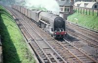 A2 Pacific no 60521 <I>Watling Street</I> passes Craigentinny signal box on 19 June 1958 with an up freight comprised of first generation wooden containers. <br><br>[A Snapper (Courtesy Bruce McCartney) 19/06/1958]