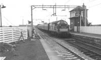 The 16.56 SX Glasgow Central - Gourock service arriving at Bishopton in September 1966. Note the ex-Caledonian signal box, then still in operation.<br><br>[Colin Miller /09/1966]