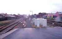 Looking north west from Birmingham Snow Hill during heavy rain in March 2001. A Midland Metro tram is departing on the right.<br><br>[Ewan Crawford /03/2001]