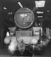 Black 5 no 44781 stands on Carnforth shed in 1968. In common with many surviving locomotives towards the end of steam, number plate, shed plate and any other removable mementoes have long 'disappeared', in this case replaced by white paint. While the shed code 9K shown here refers to Bolton shed, the locomotive spent its last days at 10A Carnforth. 44781, along with classmate 44871, was one of the last BR operational steam locomotives and said its goodbyes on the <I>Fifteen Guinea Special</I> on 11 August 1968, the day before the official BR main line steam ban came into force [see image 30382]. 44781 was officially withdrawn from Carnforth shed by BR at the end of that month. While 44871 ended up in preservation, no 44781 became a (temporary) film star, appearing in the film 'The Virgin Soldiers'. Unforunately it was 'wrecked' as part of the film and cut up on site afterwards.<br><br>[A Snapper (Courtesy Bruce McCartney) //1968]