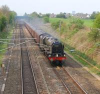 46115 <i>Scots Guardsman</i> brings <i>The Great Britain IV</i> towards its Day 6 destination on 21 April. The train is seen having just passed the site of Barton & Broughton station on 21 April on the northern outskirts of Preston.<br><br>[John McIntyre 21/04/2011]