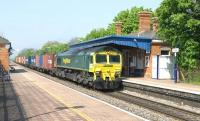 Freightliner 66503 through Cholsey on 21 April with eastbound containers.<br> <br><br>[Peter Todd 21/04/2011]
