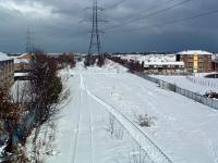 View north east at Boldon North Junction on a wintry 28 February 2004. The line in the left foreground runs to Boldon West Junction and that in the right foreground to Boldon East Junction (the latter was reinstated in May 2011). Alongside the pylon in the centre background the line divides at Green Lane Junction with the Tyne Dock route turning off to the left and what is now a turnback siding (formerly the line to South Shields) running to the right.<br><br>[Ewan Crawford 28/02/2004]