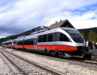 NSB Class 93 DMU at Bjorli station on the Rauma line on 2 June 2011. The train is awaiting busloads of tourists to return them to their cruise ship berthed at Andalsnes [see image 34404].<br><br>[John Robin 02/06/2011]
