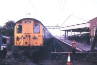 A class 302 emu stands at Clacton in May 1986.<br><br>[Ian Dinmore /05/1986]