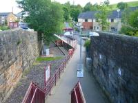 Access to the 1990 terminus at Paisley Canal from Causeyside Street road bridge. The former through route ran below the camera to the G&SW station on the west side of the bridge [see image 34728].<br><br>[Veronica Clibbery 01/07/2011]