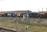The last two stored Class 20s were towed away from Carnforth on 15 November 2011 to Barrow Hill. 20311 and 20314 were purchased by Harry Needle from DRS for further main line work. They were at Carnforth for many months and are pictured on the storage line there on 24 October 2011. Note the two different DRS blue liveries. 20314 and 20311 subsequently re-emerged from the workshops in HNRC orange livery [See image 48833]. <br><br>[Mark Bartlett 24/10/2011]