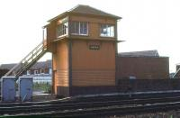 Annan signal box looking west across the running lines in 1978 [see image 11521].<br><br>[Ian Dinmore //1978]