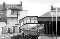 Platform view at Broughty Ferry in March 1993 looking east towards Gray Street level crossing and the unique signal box.<br><br>[Bill Roberton /03/1993]