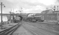 Scene at the north end of Buchanan Street station on 25 July 1966. A2 Pacific no 60532 <i>'Blue Peter'</i> is heading for St Rollox shed having brought in the 1.30pm from Aberdeen earlier.<br><br>[K A Gray 25/07/1966]