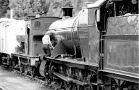 Putting the finishing touches to the restoration of a GWR 2-8-0 at Bewdley in 1980.<br><br>[Colin Miller //1980]