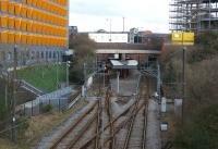 Looking north into Bury Interchange, the terminus on the Manchester Metrolink on 03 March 2012. The station was opened in 1980 by BR with Class 504 EMUs. It was closed and converted for the Metrolink, reopening in 1992. Prior to this station opening BR services from Manchester had used Bury Bolton Street station which is now part of the East Lancashire Railway. With thanks to Alisdair McNicol for correcting the information on the earlier caption.<br><br>[John McIntyre 03/03/2012]