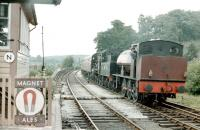 Scene at Bewdley on the Severn Valley Railway in 1979 with a saddle tank sporting a Class A headcode! <br><br>[Colin Miller //1979]