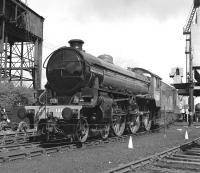 Despite appearances, this is not a c.1948 scene at some LNER shed, but Steamtown Carnforth in 1976. While I am not a fan of apple green on big engines, the effect in monochrome is quite pleasing on the B1, spoiled only by it carrying a fictitious name and number (it was delivered as BR No. 61306 from NBL in April 1948).<br><br>[Bill Jamieson 08/05/1976]