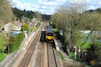 View over Avoncliff station on 12 April 2012 with 150106 about to leave for Great Malvern.<br><br>[Peter Todd 12/04/2012]