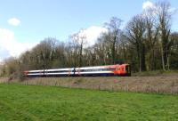 A South West Trains Class 159 DMU photographed near Avoncliff on 12 April 2012 heading for Westbury.<br><br>[Peter Todd 12/04/2012]