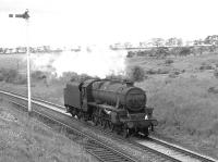 On Glasgow Fair Saturday 1966 Black 5 no 45018 shuffles south, light engine, at Craigenhill Summit heading home to 12A Carlisle Kingmoor. <br><br>[Colin Miller /07/1966]