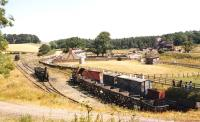 General view over Beamish in the early 1980s, with the replica <I>'Locomotion No 1'</I> standing centre left.<br><br>[Bruce McCartney //]