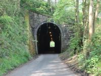 A narrow gauge tunnel with standard gauge dimensions. The L&MVR was quite advanced in its thinking as it conveyed standard gauge wagons on narrow gauge transporters so the tunnel at Butterton had to be large enough to accommodate them. Although most of the branch trackbed is now a footpath and cycleway a short stretch from Wetton to Butterton also carries light road traffic. This section includes the tunnel, viewed here from the southern end. Butterton Halt was just on the north side at which point the road veers away again leaving the <I>Manifold Valley Trail</I> to be followed to Hulme End.<br><br>[Mark Bartlett 24/05/2012]