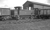 Veteran Johnson 1F 0-6-0T no 41708 of 1880, complete with original half-cab, stands on Canklow shed in May 1966. Withdrawn 7 months later from Langwith Junction the locomotive subsequently passed into preservation [see image 23298].  <br><br>[K A Gray 22/05/1966]