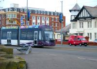 Blackpool Tram no 010 at Cabin in September 2012.<br><br>[Veronica Clibbery /09/2012]