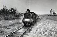 Just west of Avoch was Rosehaugh Crossing. On the 14th of June 1960 the RCTS/SLS Joint Scottish Tour approaches the crossing<br><br>[WA Camwell (Copyright Stephenson Locomotive Society) 14/06/1960]
