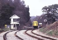 A southbound train from London Victoria heading for Uckfield about to run through Birchden Junction in 1984. To the right is the 'Spa Valley Railway' route to Tunbridge Wells West. [See image 21137].<br><br>[Ian Dinmore //1984]