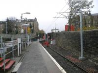 View towards the buffer stops at Paisley Canal on 7 November 2012 with wires now in place.<br><br>[John Yellowlees 07/11/2012]