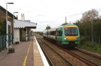 An Ashford to Hastings two car Class 171 Turbostar slows to call at Appledore in Kent on 26 October 2010.<br><br>[John McIntyre 26/10/2010]