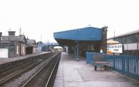 Platform view through Athenry station on the Dublin - Galway route in July 1988.<br><br>[Ian Dinmore /07/1988]